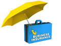 Business insurance concept bag under a yellow umbrella over white background Royalty Free Stock Image