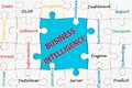 Business intelligence concept words cloud on group of jigsaw puzzle Royalty Free Stock Image