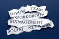Business interaction concepts roughly cut slips of paper with such us forum team workgroup management and social network Stock Images