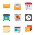 Business and interface flat icons set illustration eps Stock Images