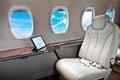 Business Jet airplane interior Royalty Free Stock Photo