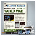Business Journey Newspaper Lay Out With Pen, Glasses, Coffee Royalty Free Stock Photo