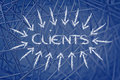 Business key concepts cliients the word clients as a concept of doing surrounded by arrows Stock Image