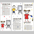 Business kids hand drawing cartoon characters