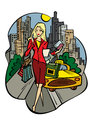 A business lady in the city with purchases vector illustration Royalty Free Stock Photo