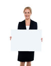 Business lady displaying blank white ad board happy corporate woman whiteboard Royalty Free Stock Photos