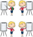 Business lady presentation cute funny ladies with flipchart Stock Photography