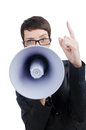 Business lady screaming to loudspeaker Stock Photos