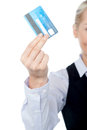Business lady showing credit card cropped image of a woman with atm Royalty Free Stock Photos