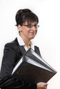 Business lady with two folders Royalty Free Stock Photo