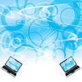 Business laptop blue background Stock Photo