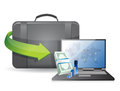 Business laptop and suitcase illustration design over a white background Royalty Free Stock Photo