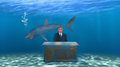 Business lawyer sales marketing politician abstract concept for a or a banker a businessman sits at an office desk under the sea Royalty Free Stock Images