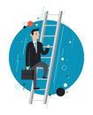 Business leader concept illustration flat design style modern of success businessman in stylish suit climbing upstairs symbolizing Royalty Free Stock Image