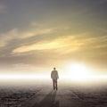Business leader journey businessman walking on to success as a metaphor for entrepreneurship Stock Image