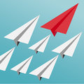 Business Leadership Concept With Red Paper Plane Leading White Airplanes