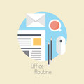 Business lifestyle flat illustration design vector concept of modern office workflow and routine office daily activity poster on Stock Image