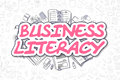 Business literacy doodle magenta text business concept illustration of inscription and stationery surrounded by icons for web Stock Photo