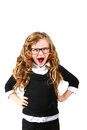 Business little girl in glasses on a white background shouting Stock Image
