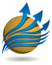Business logo a blue arrow group on a golden globe icon Royalty Free Stock Image