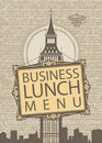 Business lunch menu with the big ben Royalty Free Stock Images