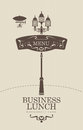 Business lunch menu with vintage lamp and airship Royalty Free Stock Photos