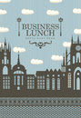 Business lunch town menu for lunches with the old and a street lamp Stock Photos