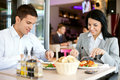 Business lunch a women and a men on a in a restaurant Stock Image