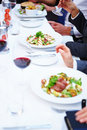 Business lunches - Food being eaten at a lunch Royalty Free Stock Image