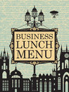 Business lunches menu for with the old town and a street lamp Stock Photography