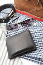 Business or male accessories belt shoes wallet sunglasses shirt and tie on white Royalty Free Stock Images
