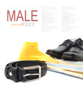 Business or male accessories belt shoes yellow shirt and yellow tie isolated on white Stock Photos