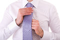 Business man adjusting his tie Royalty Free Stock Photo