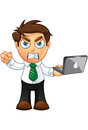 Business Man - Angry With Laptop Royalty Free Stock Photo