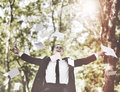 Business Man Arms Oustretched Acheivement Concept Royalty Free Stock Photo