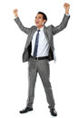 Business man with arms raised Stock Images
