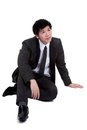 Business man attractive smart seat suit in isolated Royalty Free Stock Photos