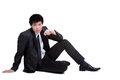 Business man attractive smart seat suit in isolated Stock Photography