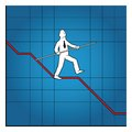Business man balancing on declining graph this is file of eps format Stock Photography