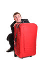 Business man behind luggage Royalty Free Stock Photo