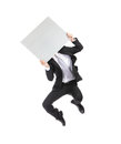 Business man billboard jump and take asian Royalty Free Stock Images