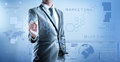 Business man in blue grey suit using digital pen working with di Royalty Free Stock Photo