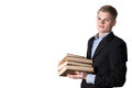 Business man with books Royalty Free Stock Photo