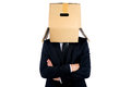 Business man with box Royalty Free Stock Photo
