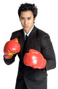 Business man boxing glove suit in isolated Stock Photos