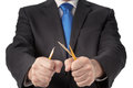 Business man breaking pencil Royalty Free Stock Photo