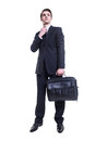 Business man with briefcase full body portrait of happy smiling isolated on white background Stock Images