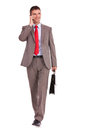 Business man with briefcase and phone Royalty Free Stock Image