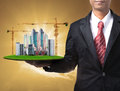 Business man and building construction Royalty Free Stock Photo