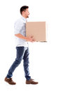 Business man carrying a box moving and isolated over white Royalty Free Stock Photography